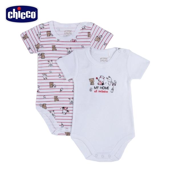 chicco-小乳牛-條紋印花短袖連身衣二入