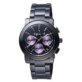【萬年鐘錶】agnes b. 法式時尚 經典 魅惑紫圈 三眼計時碼錶  IP黑 黑錶面  38mm VD53-KP30P (BT3032X1)