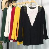 夏季2018新款時尚修身吊帶露肩拼接色韓女毛針織衫上衣