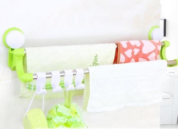 免打孔毛巾架衛生間廚房抹布架吸盤式掛鉤浴室單桿雙桿掛毛巾架子·樂享生活館liv