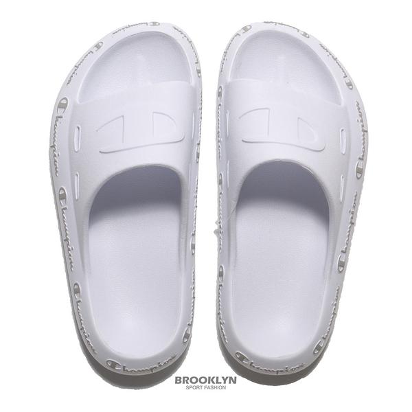 CHAMPION 拖鞋 白 大LOGO 滾邊拖鞋 運動拖 男女 (布魯克林) USLS101802