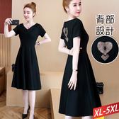 V領後背心形雕花蕾絲洋裝XL~5XL【371561W】【現+預】-流行前線-
