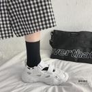 夏季紅魔術貼運動涼鞋韓版百搭鏤空透氣【聚物優品】