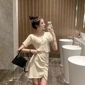 新款洋氣小眾套裝裙女短袖上衣褶皺高腰短裙子時尚兩件套裝  極有家