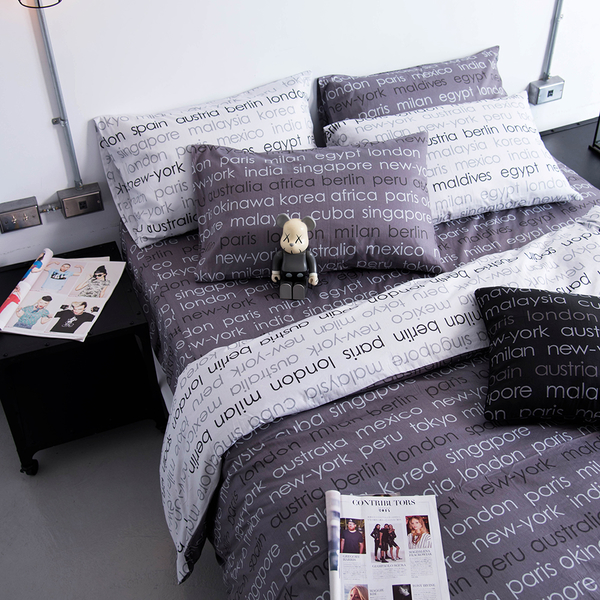 OLIVIA【 Winston 鐵灰 】3.5X6.2尺 單人床包枕套兩件組 100%精梳純棉 都會簡約系列 台灣製