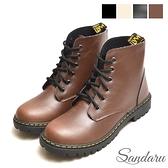 馬丁靴 綁帶圓頭皮革短靴-咖啡