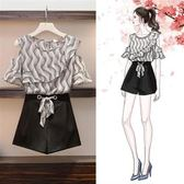 促銷價不退換中大尺碼XL-5XL短褲套裝二件套33542女裝胖妹妹夏裝新款減齡套裝雪紡衫短褲兩件套
