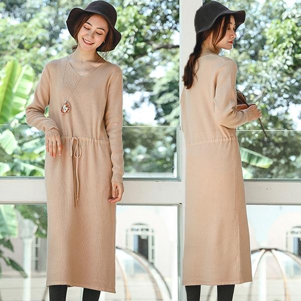 洋裝-抽繩收腰毛衣中長版針織裙米駝色/設計家 Q8905