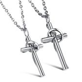 鈦鋼項鍊(一對)-十字架信仰生日情人節禮物情侶對鍊73cl1【時尚巴黎】