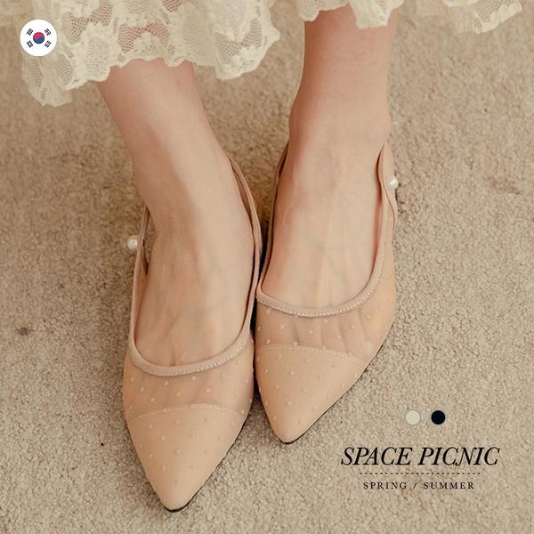 鞋 Space Picnic|正韓-點點網紗低跟尖頭鞋(預購)【K21022000】