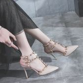 T型搭扣涼鞋歐美新款尖頭漆皮細跟高跟鞋鉚釘一字扣女鞋  卡布奇諾