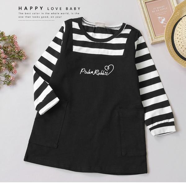 純棉 條紋假兩件長袖洋裝 刺繡字母 短洋裝 連身裙 女寶洋裝 女童童裝