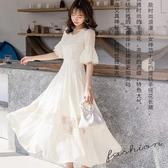 飄逸荷葉V領裙擺鏤空長洋裝~宴會服飾[98766-QF]美之札