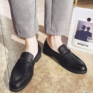 夏季樂福鞋男英倫商務休閒一腳蹬豆豆皮鞋透氣青年發型師正裝男鞋 浪漫西街