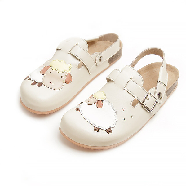 【Jingle】快樂小綿羊前包後空軟木休閒鞋(百搭米大人款)