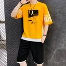 夏季男士休閑5五分褲夏裝短褲短袖一套搭配衣服潮流帥氣運動套裝 傑森型男館