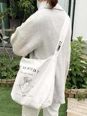全館88折簡約新款插畫風帆布包印花日系抽象單肩包斜跨大包女包手提購物袋百搭潮品