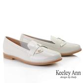Keeley Ann我的日常生活 MIT甜美金屬飾釦漆皮樂福鞋(米白色)