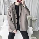 新款休閒西服男寬鬆韓版便裝外套秋季男士帥氣純色西裝上衣潮 【母親節特惠】