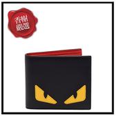 FENDI怪獸造型小牛皮對開短夾(黑X紅)7M0169全新商品