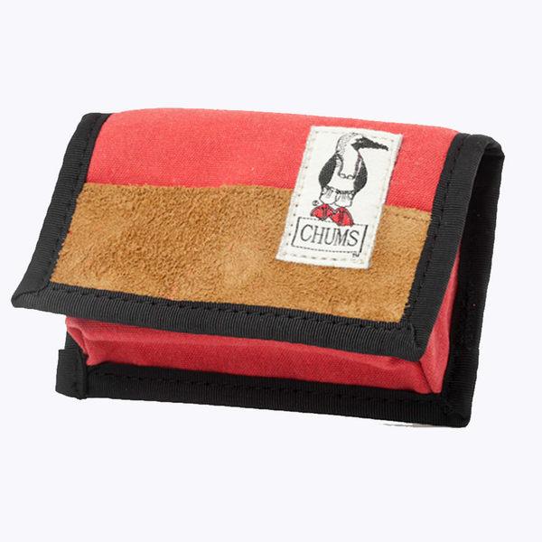 CHUMS 日本 復古LOGO 麂皮帆布 立體零錢包 附扣環 紅 CH602141R001