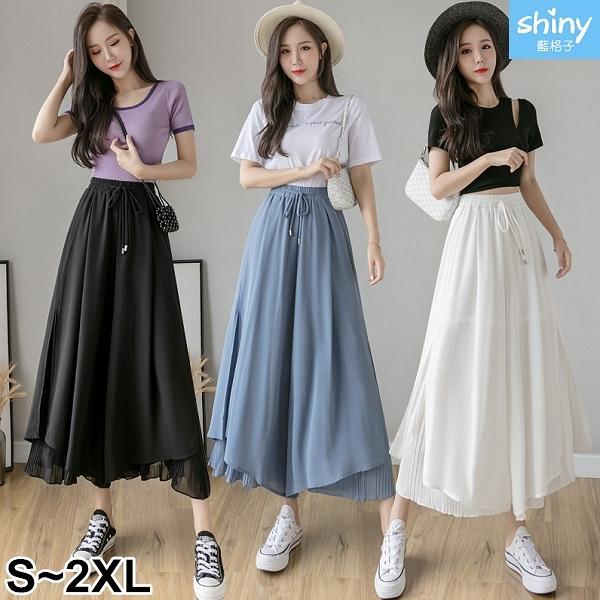 【V9325】shiny藍格子-夏日時尚.純色高腰顯瘦垂感闊腿九分褲裙