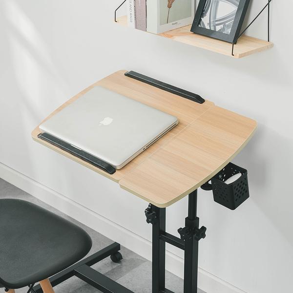 樂嫚妮 電腦桌 360度升降工作桌 深木紋 懶人桌 電腦桌 NB桌 邊桌