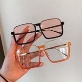 墨鏡 韓版個性網紅款超大框方框眼鏡女潮百搭街拍墨鏡圓臉顯臉小太陽鏡 韓國時尚週 免運
