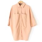 【MASTINA】五分寬袖排扣上衣-桔