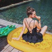 泳衣 泳衣女連體裙式保守性感遮肚顯瘦小胸聚攏鋼托交叉露背2018新款黑 雲雨尚品
