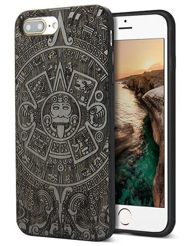【美國代購】iPhone 7 plus 獨特原木木紋 手工雕花 保護殻, Retro Camera Engraving - Walnut 款式