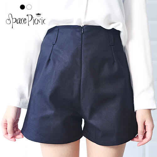 短褲 Space Picnic|現貨.自設款.腰打褶拉鍊設計短褲【080047】