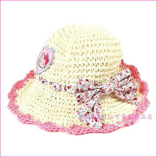 asdfkitty可愛家☆KITTY兒童用編織款遮陽帽-附彈性下巴帶-頭圍52公分-透氣不悶熱-日本正版商品