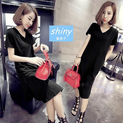 【V0831】shiny藍格子-流行春尚. 純色顯瘦V領側開叉短袖連身裙