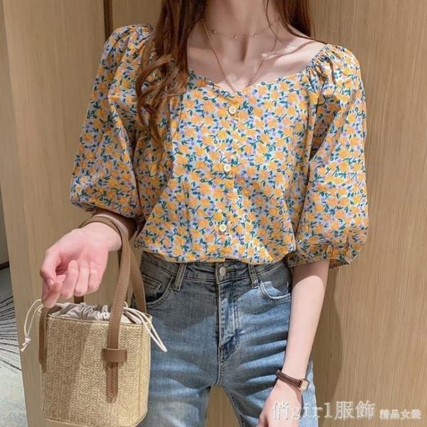 短袖襯衫 襯衫女上衣2021新款燈籠袖一字領碎花V領寬鬆短袖T恤學生洋氣夏裝 618購物節