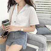 復古港味白色襯衫女夏季新款韓版寬鬆百搭顯瘦氣質設計感短袖上衣·Ifashion