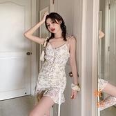 法式性感碎花吊帶裙子女夏季蕾絲復古短裙魚尾連衣裙【橘社小鎮】