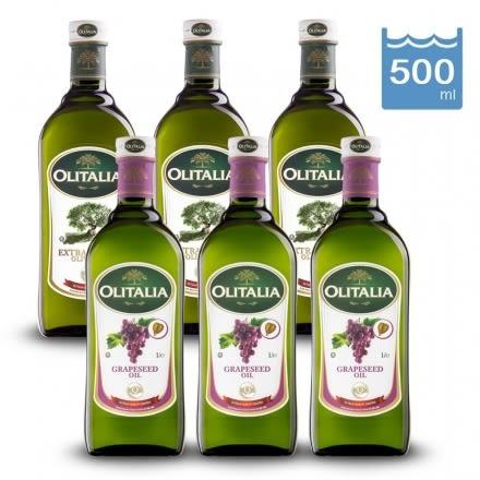 Olitalia特級冷壓橄欖油+葡萄籽油500ml(共6瓶)