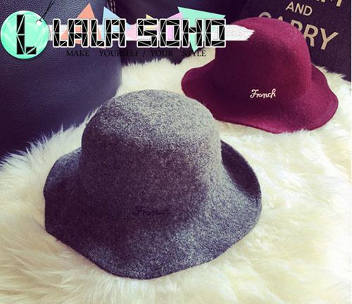 韓國字母 羊毛絨 針織 大簷 帽子 盆帽 英倫複古 女 秋冬 可折疊 毛線 漁夫帽