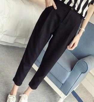 EASON SHOP(GU1992)黑色西裝褲鬆緊腰寬鬆九分褲哈倫褲OL上班夏裝女小腳褲高腰顯瘦休閒褲