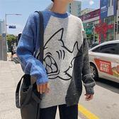 拼色毛衣男士卡通寬鬆打底情侶針織衫休閒個性外套·皇者榮耀3C旗艦店