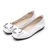 G.Ms. MIT系列-金屬大圓鍊條牛皮娃娃鞋-白色