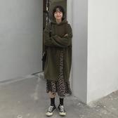 秋裝韓版新款寬鬆中長款設計感豹紋假兩件連帽長袖連身裙女裝 雅楓居