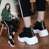 夏季運動老爹鞋女黑色彈力襪子鞋