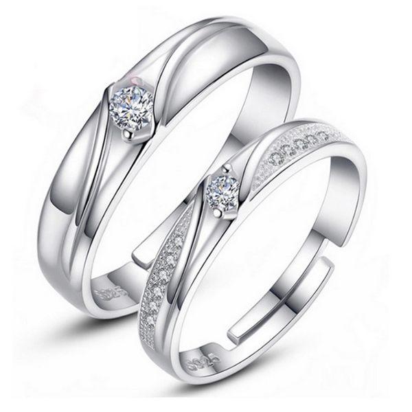 情侶對戒 輕奢華微鑲鋯石 珍愛一生 開口可微調 鍍925銀 戒指 單售