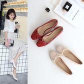 單鞋女春季新款拼色蝴蝶結中跟女鞋紅色婚鞋粗跟高跟鞋   可然精品