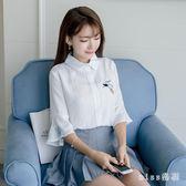 中大尺碼新款白色雪紡衫女七分喇叭袖韓版寬鬆刺繡襯衫小清新上衣 js6248『miss洛羽』