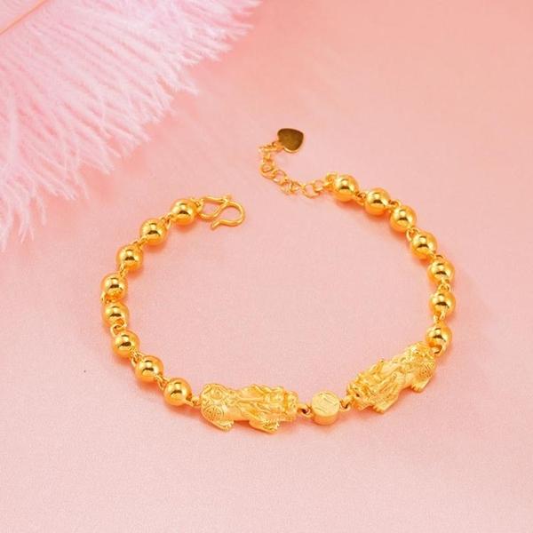 越南沙金貔貅轉運手鏈女士仿真黃金手飾男久不掉色鍍金招財首飾品