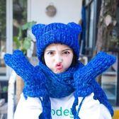 針織手套羊毛毛帽圍巾(三件套)-加厚雙層保暖連指男女手套7色73or23[巴黎精品]