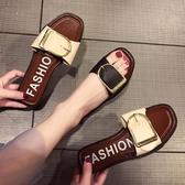 2019新款外出韓版一字拖鞋女夏外穿平底涼鞋百搭時尚室外沙灘涼拖